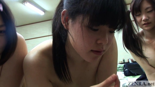 naked japanese schoolgirls play with cum