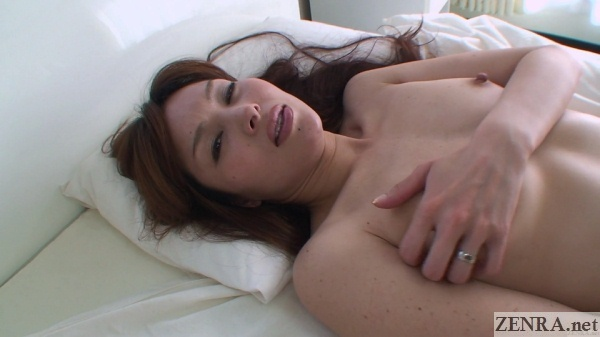 pale naked married japanese woman cups breast