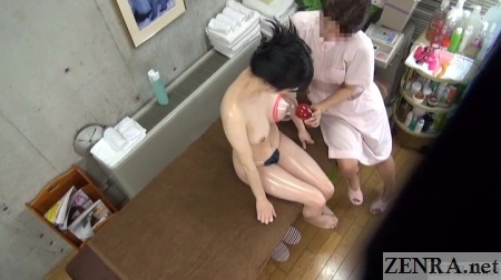 overhead view jav massage clinic bust up course