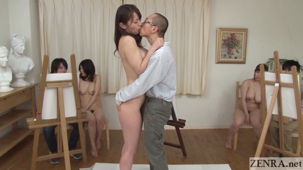 japanese nude art model kisses clothed student