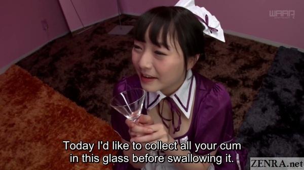 jav maid ayane suzukawa holds glass for gokkun