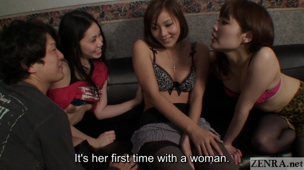 embarrassed japanese amateur surrounded by swingers club customers