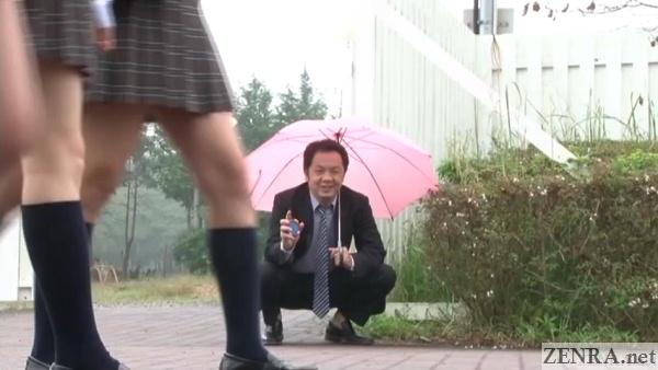 lewd japanese teacher ogles schoolgirl legs