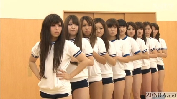 japanese schoolgirls in bloomers lined up