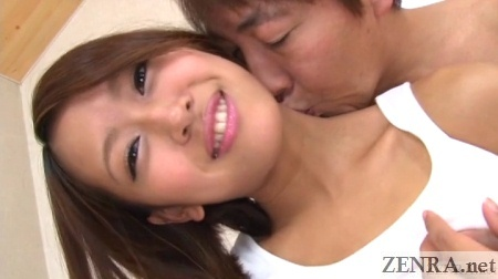 smiling japanese woman neck kissed