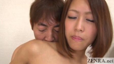 tan japanese amateur topless face close up