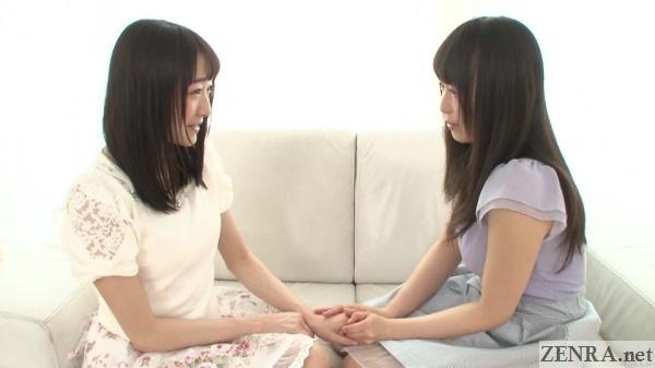 ayane suzukawa and nozomi hazuki holding hands
