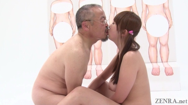 young japanese woman kissing old man