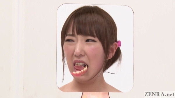 japanese teen with dentures in her mouth