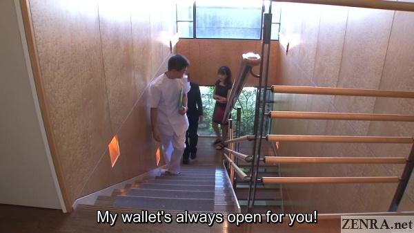 japanese couple walking to massage treatment room