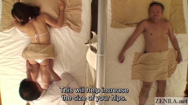 japanese butt oil massage overhead view