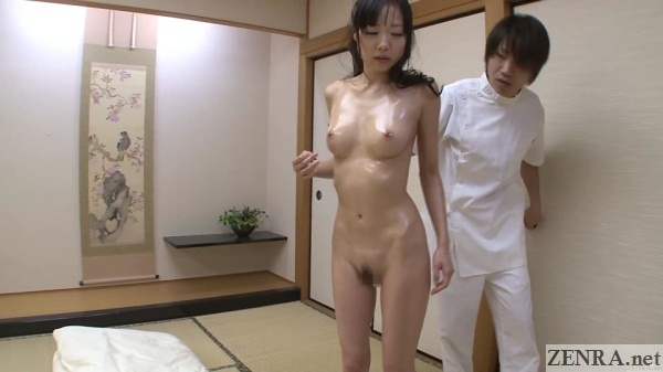 cmnf oiled up naked japanese woman with clothed masseuse