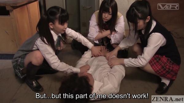 jav schoolgirls surround male classmate
