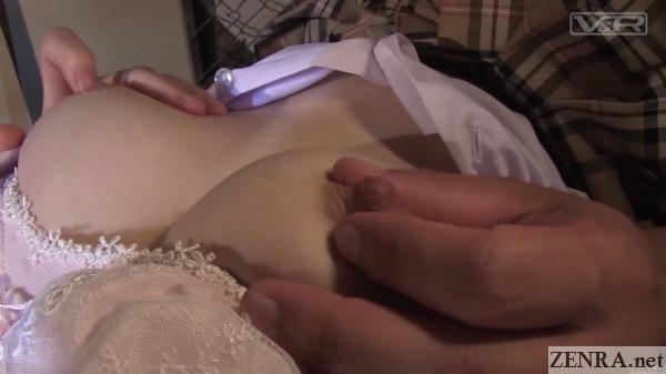 close up squeezing japanese schoolgirl nipples