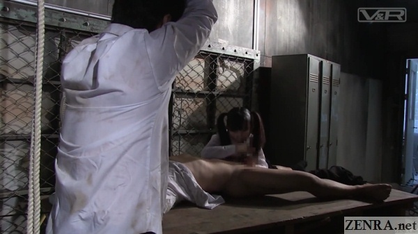 voracious schoolgirl blowjob in abandoned factory