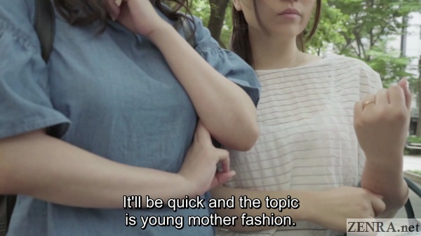 outdoor young mother street interview