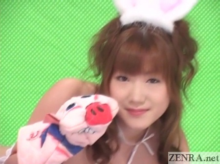 cute jav star with pig glove