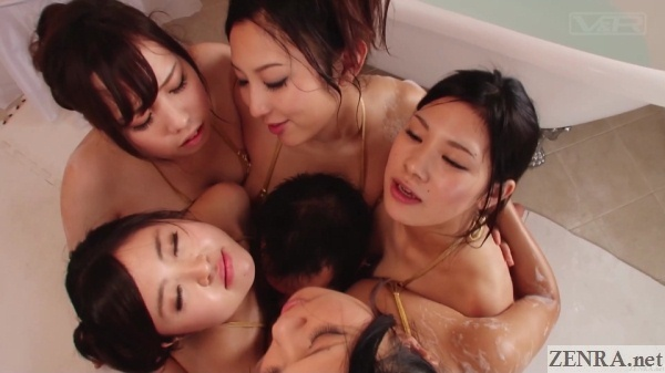 harem at jav soapland rubbing breasts into customer