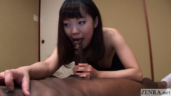 pale schoolgirl handjob nipple rubbing foreplay with black homestay student