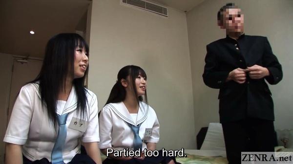jav schoolgirls in hotel room for foursome