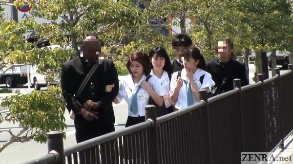 japanese students walking outside
