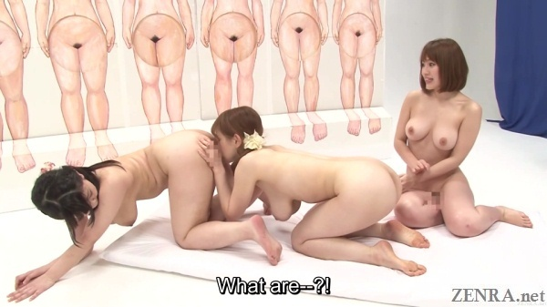 japanese game show siphoning out cum via lesbian cunnilingus