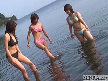 japanese women in bikinis at lake biwa