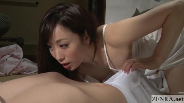 kawakami yuu cheating wife hand on groin
