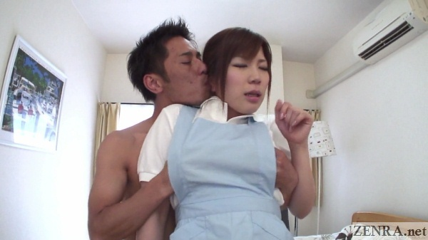 naked japanese man fondles maid