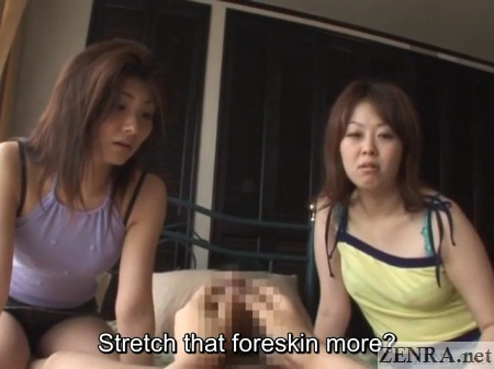 exposing phimosis dick to clothed japanese women