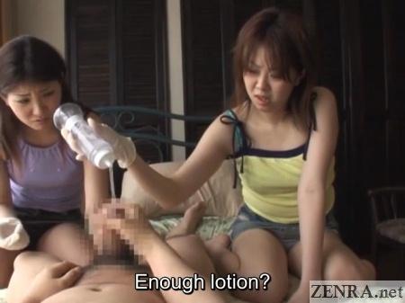 cfnm lotion on erection