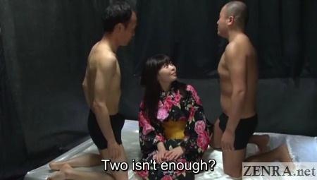 yukata clad miori hara devils threesome