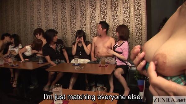 fondling breasts at jav swingers club